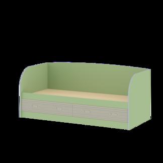 Кровать детская «ДЖУНИОР» с ящиками и спинкой (цвет - Зеленый/Модерн)