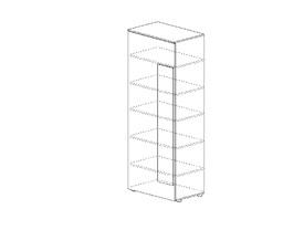 Секция 600 «Квадро», Белый перламутр, МДФ Венге глянец