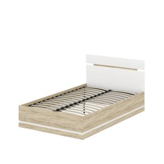 Кровать «ЛЮКСОР» полутораспальная  1200 (цвет – Супер матовый Айс светлый, Дуб сонома светлый)