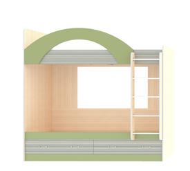 Кровать детская «ДЖУНИОР» 2-х ярусная с ящиками (цвет – Зеленый/Модерн)