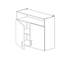 6.102 Шкаф наст. с нишей (800 x 862 x 300) МДФ Черный глянец фреза