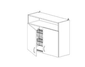 6.104 Шкаф наст. с сушилкой/ниша (800 x 862 x 300) МДФ Черный глянец фреза