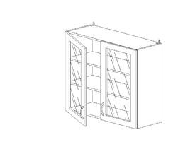 6.105 Шкаф наст. со стеклом МДФ (800 x 862 x 300) МДФ Черный глянец фреза