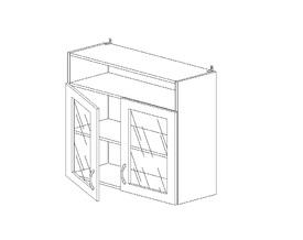 6.106 Шкаф наст. со стеклом/ниша МДФ (800 x 862 x 300) МДФ Черный глянец фреза