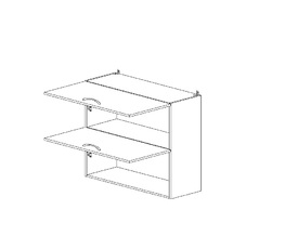 6.107 Шкаф наст. горизонтальный (800 x 862 x 300) МДФ Черный глянец фреза