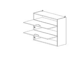 6.109 Шкаф наст. горизонтальный/ниша ЛДСП (800 x 862 x 300) МДФ Черный глянец фреза