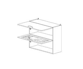 6.111 Шкаф наст. 1 дверь глухая/1 дверь стекло (800 x 862 x 300) МДФ Черный глянец фреза