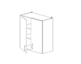 6.115 Шкаф наст. двустворч. (600 x 862 x 300) МДФ Черный глянец фреза