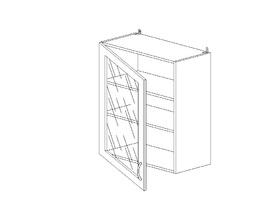 Амели 6.125 Шкаф наст. одностворч. со стеклом ЛДСП (600 x 862 x 300) ЛДСП Ясень Шимо