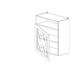 6.126 Шкаф наст. одностворч.со стеклом/ниша МДФ (600 x 862 x 300) МДФ Черный глянец фреза