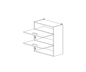 6.128 Шкаф наст. горизонтальный/ниша (600 x 862 x 300) МДФ Черный глянец фреза