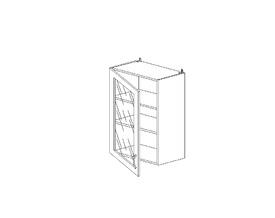 6.144 Шкаф наст. со стеклом МДФ (500 x 862 x 300) МДФ Черный глянец фреза