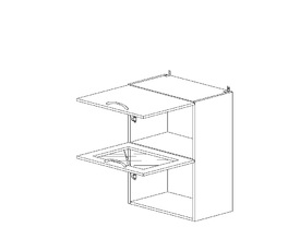 6.152 Шкаф наст. 1 дверь глухая/1 дверь стекло МДФ (500 x 862 x 300) МДФ Черный глянец фреза