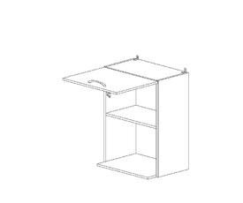 6.154 Шкаф наст. с нишей для микроволновки (500 x 862 x 300) МДФ Черный глянец фреза