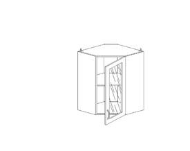 6.167 Шкаф наст. угловой со стеклом МДФ (600 x 862 x 600) МДФ Черный глянец фреза