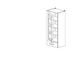 8.173 Шкаф надставка со стеклом (400 x 1252 x 300) МДФ Черный глянец фреза
