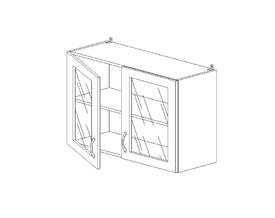 5.58 Шкаф наст. со стеклом (1 полка) МДФ (800 x 652 x 300) МДФ Черный глянец фреза