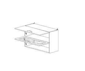 5.65 Шкаф наст. 1 дверь глухая/1 дверь стекло МДФ (800 x 652 x 300) МДФ Черный глянец фреза