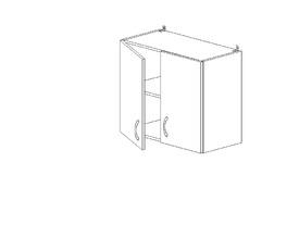 5.66 Шкаф наст. двустворч.(1 полка) (600 x 652 x 300) МДФ Черный глянец фреза