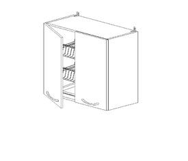 5.68 Шкаф наст. с сушилкой двустворч. (600 x 652 x 300) МДФ Черный глянец фреза