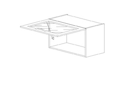 """5.7.1 Шкаф низкий горизонтальный  600 со стеклом (600х360х316) Э Роял Вуд голубой """"Кантри"""""""