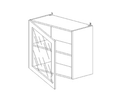 5.71 Шкаф наст. со стеклом одностворч. МДФ (1 полка) (600 x 652 x 300) МДФ Черный глянец фреза