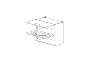 5.75 Шкаф наст. 1 дверь глухая/1 дверь стекло МДФ (600 x 652 x 300) МДФ Черный глянец фреза