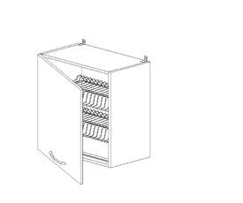 5.80 Шкаф наст. с сушилкой одностворч. (500 x 652 x 300) МДФ Черный глянец фреза