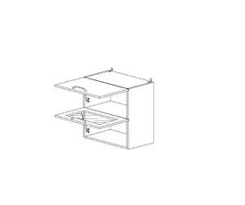 5.84 Шкаф наст. 1 дверь глухая/1 дверь стекло МДФ (500 x 652 x 300) МДФ Черный глянец фреза
