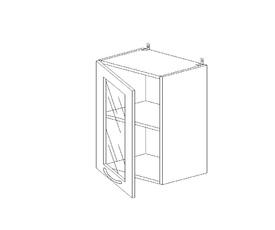 5.89 Шкаф наст. со стеклом (1 полка) МДФ (400 x 652 x 300) МДФ Черный глянец фреза