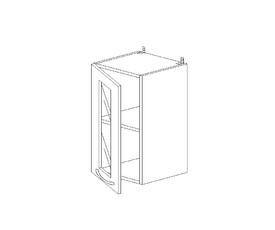 5.91 Шкаф наст. со стеклом (1 полка) МДФ (300 x 652 x 300) МДФ Черный глянец фреза