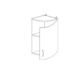5.92 Шкаф завершающий закругленный (300 x 652 x 300) МДФ Черный глянец фреза