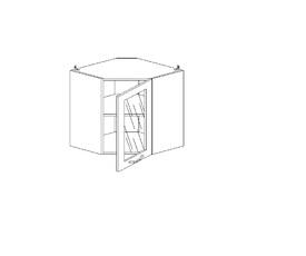 5.96 Шкаф наст. угловой со стеклом МДФ (600 x 652 x 600) МДФ Черный глянец фреза