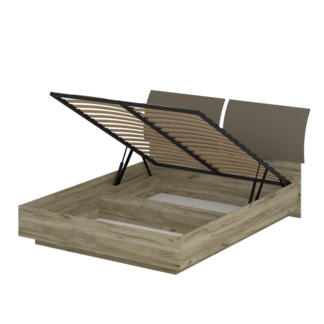 Кровать «АСТИ» двуспальная с подъемным механизмом 1600 (цвет - дуб серый Craft, Базальт)