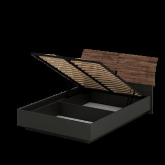 Кровать «АСТИ» двуспальная с подъемным механизмом 1400 (цвет - Антрацит, Дуб Эрле)