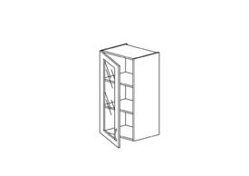 """7.22 Шкаф высокий 400 со стеклом (400х960х316) Э Роял Вуд голубой """"Кантри"""""""