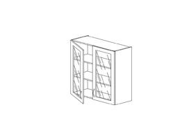 """7.4 Шкаф высокий 800 со стеклом (800х960х316) Э Роял Вуд голубой """"Кантри"""""""