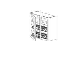 """7.6 Шкаф высокий  800 со стеклом под сушилку (800х960х316) Э Роял Вуд голубой """"Кантри"""""""