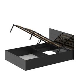 """Кровать 1400 с подъемным механизмом """"Лайт"""" МДФ Черный глянец"""