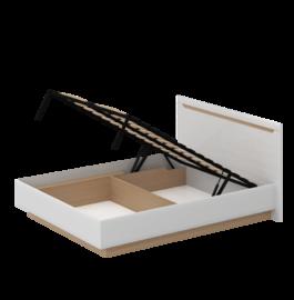 Кровать «СТОКГОЛЬМ» двуспальная с подъемным механизмом 1600 (цвет - Белый глянец, Бук)