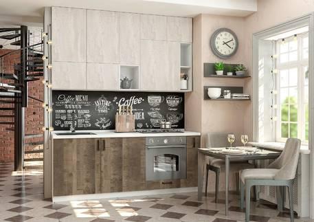 Кухня «БОСТОН» (цвет — дуб гранж колониальный, бетонный камень)