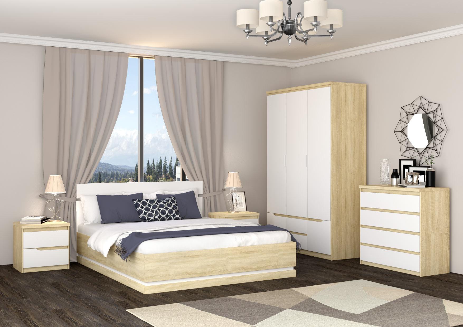 Спальный гарнитур «ЛЮКСОР» (цвет - Супер матовый айс светлый) - купить в Перми в интернет-магазине Эстель