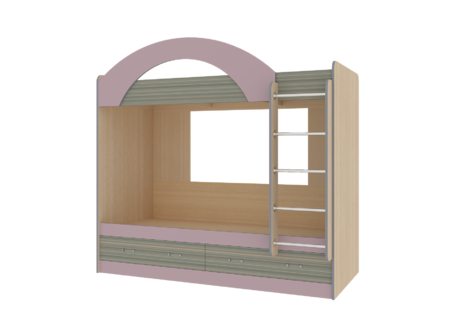 Кровать детская «ДЖУНИОР» 2-х ярусная с ящиками (цвет – Ирис/Модерн)