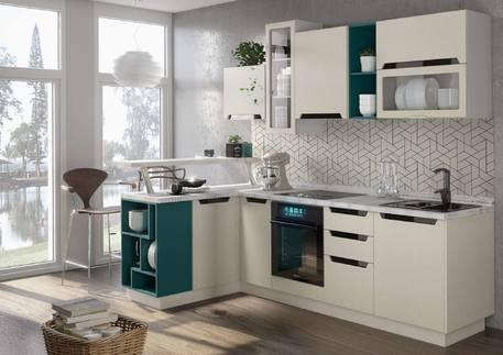 Кухня «НЭРО» (цвет - мира матовая, бирюзовый)