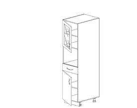 Амели 3.42 Пенал со стеклом (400 x 2062 x 570) ЛДСП Тип 2  ЛДСП Ясень Шимо