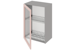 Шкаф средний 400 со стеклом под сушилку с алюминиевой рамкой одностворчатый