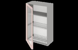Шкаф высокий 500 под сушилку с алюминиевой рамкой со стеклом одностворчатый