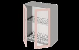 Шкаф  средний  500 со стеклом под сушилку с алюминиевой рамкой  двухстворчатый