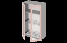 Шкаф высокий 500 со стеклом под сушилку с алюминиевой рамкой двухстворчатый