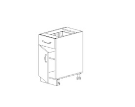 1.30 Стол рабочий с 1 ящиком (300 x 816 x 500) МДФ Черный глянец фреза